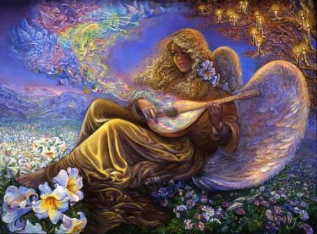https://maessage.wordpress.com — sous un arbre de bougies et assis sur un tapis de fleurs, un ange joue d'une mandoline enchantée. En sortent des notes de musique, papillons, oiseaux et figures d'anges jouant aussi de la musique • peinture de Josephine WALL, peintre surréaliste et sculptrice anglaise • « Angel Melodies » / « Mélodies angéliques »