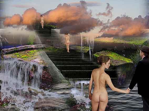 https://maessage.wordpress.com — 3 femmes nues vues de dos gravissent un escalier d'eau. L'une tient la main d'un homme vêtu d'un complet noir • photomontage de Lucette VIRELLE, photographe belge : « Invitation »