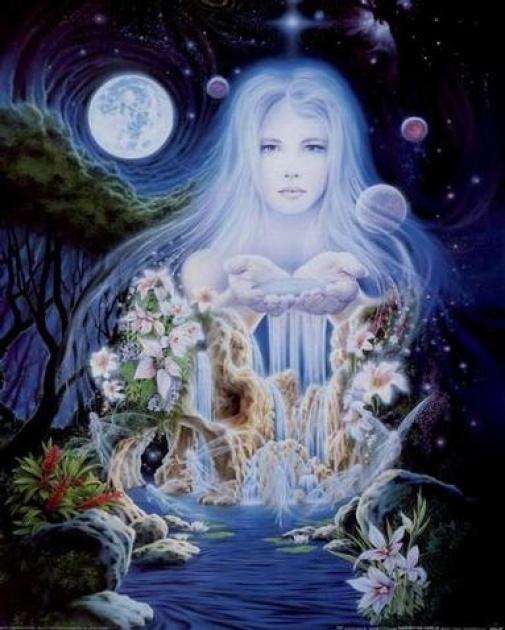 http://maessage.wordpress.com — peinture : fée sous la lune et les astres prodiguant de l'eau avec ses mains, qui s'écoule en cascade pour former une rivière