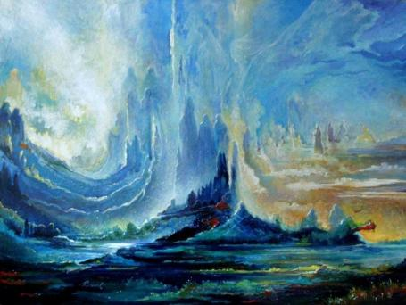 https://maessage.wordpress.com — composition de formes bleues sombre au bleu clair qui se dressent vers le ciel ; des silhouettes humaines en émergent • peinture surréaliste de Freydoon RASSOULI, peintre américain d'origine iranienne : « Shores of Heaven » / « Rives du Paradis »