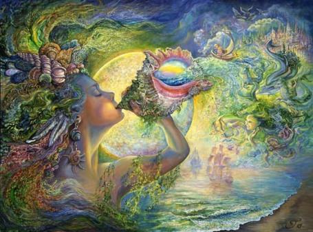 https://maessage.wordpress.com — au bord d'une grève d'où partent des bateaux à voile, une déesse souffle dans une conque enchantée. En sortent des vagues où se mêlent visage de femme, petit bateau, ville mystérieuse, poissons, hippocampe, dauphin • peinture de Josephine WALL, peintre surréaliste et sculptrice anglaise : « Call of the Sea » / « L'appel de la Mer »