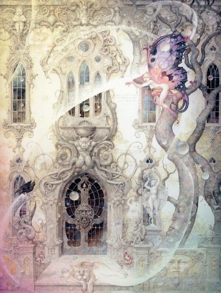 https://maessage.wordpress.com — maison féérique de style Art Nouveau • aquarelle de Daniel MERRIAM, peintre surréaliste américain • « Spellbound » / « Ensorcelée »
