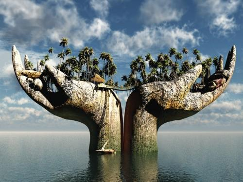 https://maessage.wordpress.com — paillote et cocotiers sur 2 mains ouvertes en forme d'île qui émergent de la mer. Une passerelle relie les 2 paumes
