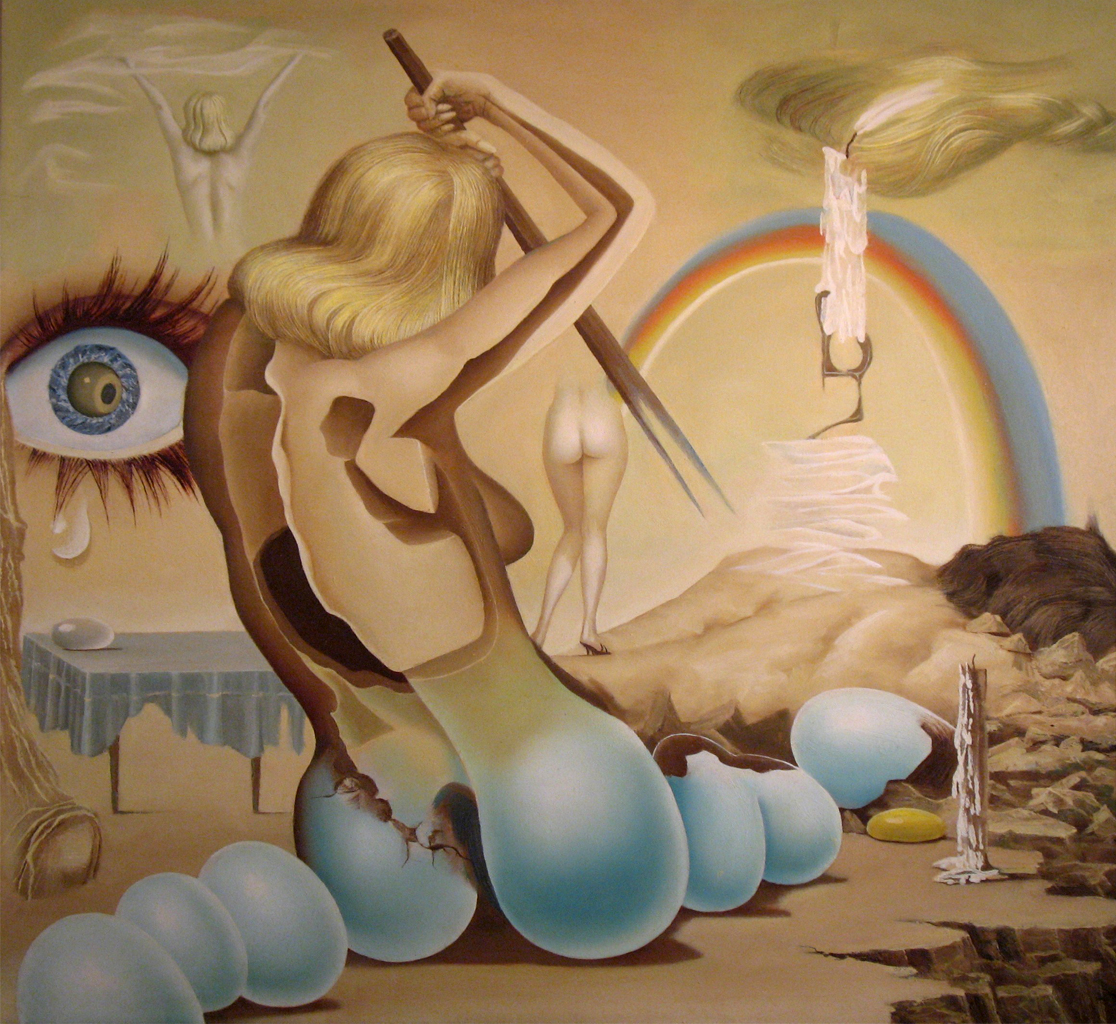 http://maessage.wordpress.com — vision surréaliste d'une femme dont les fesses sont en forme de coquilles d'œuf • peinture de Seppo SIMILÄ, peintre finlandais surréaliste : « Surman loukku » / « Piège mortel »