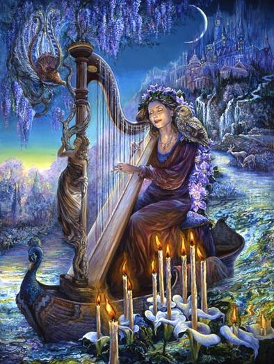 https://maessage.wordpress.com • d'une citadelle céleste, s'écoule une rivière enchantée. La déesse Minerve, un hibou sur l'épaule, se trouve sur une barque et joue de la harpe. Sur la colonne de l'instrument pousse une glycine, un oiseau lyre y est perché. Des bougies émergent de corolles d'arums et éclairent le visage de Minerve. Au loin, un cerf et une biche s'abreuvent • peinture surréaliste de Josephine WALL, peintre surréaliste et sculptrice anglaise • « Minerva's Melody » / « Mélodie de Minerve »
