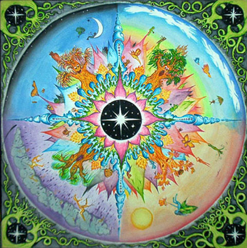 http://maessage.wordpress.com — les 4 saisons aux couleurs éclatantes avec une étoile au milieu • peinture mandala d'Elizabeth ZAIKOWSKI, peintre américaine, sculptrice et enseignante : « Cycle of Life » / « Cycle de Vie »