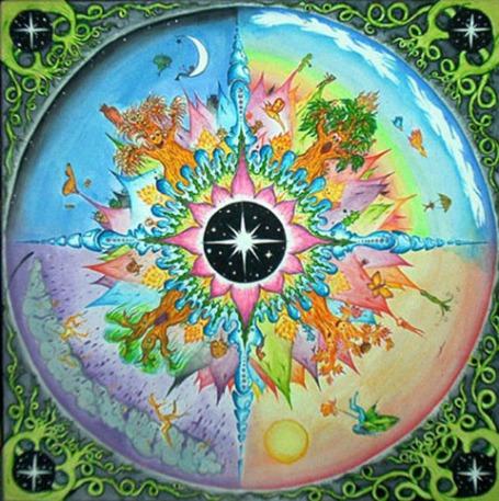 https://maessage.wordpress.com — les 4 saisons aux couleurs éclatantes avec une étoile au milieu • peinture mandala d'Elizabeth ZAIKOWSKI, peintre américaine, sculptrice et enseignante : « Seasons » / « Saisons »