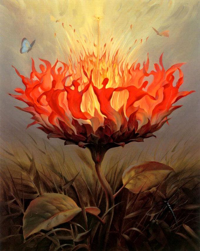 https://maessage.wordpress.com • une fleur dont les pétales rouges anthropomorphes forment une farandole joyeuse et endiablée autour du pistil enflammé. 2 papillons virevoltent tout près • peinture métaphoriste de Vladimir KUSH, peintre surréaliste et sculpteur américain d'origine russe • « Fiery dance » / « Danse du feu »