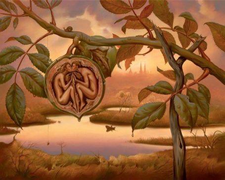 https://maessage.wordpress.com — un noyer près d'un étang. À l'intérieur d'une noix coupée en deux, un homme et une femme en position gémellaire s'embrassent sur la bouche • peinture métaphoriste de Vladimir KUSH, peintre et sculpteur américain d'origine russe : « Walnut of Eden » / « Noix d'Éden »