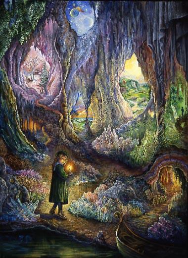 https://maessage.wordpress.com — Une jeune fille, arrive en barque par une rivière dans une grotte immense et merveilleuse. Elle éclaire son chemin au moyen d'une bougie et découvre nombre de concrétions et cristaux fantastiques. Plusieurs issues mènent vers des univers différents. Lequel va-t-elle choisir ? • peinture de Josephine WALL, peintre surréaliste et sculptrice anglaise • « Underworlds » / « Souterrains »