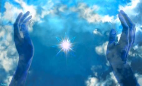 https://maessage.wordpress.com — photomontage : étoile stylisée entre 2 mains ouvertes sur le ciel