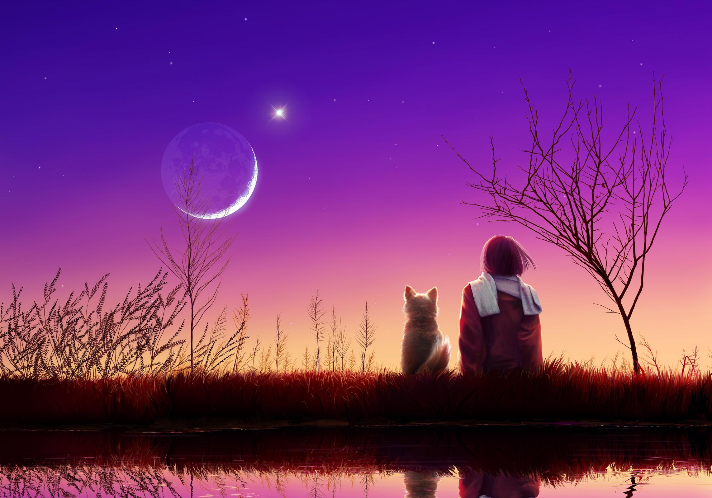 https://maessage.wordpress.com — femme vue de dos assise au bord de l'eau avec un chien à ses côtés. Tous deux observent la lune au lever du jour • peinture de Joh KAGAYA, peintre digital japonais : « Luna Garden » / « Jardin de Lune »