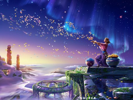 https://maessage.wordpress.com — femme qui bénit l'arrivée du printemps sur la Terre en envoyant une myriade de pétales multicolores dans un ciel bleuté aux reflets mauves. C'est l'aurore ; au loin des totems • peinture digitale « Blessing » / « Bénédiction » de Joh KAGAYA • peintre digital japonais