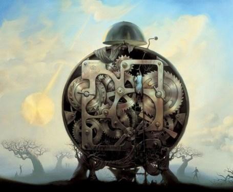 https://maessage.wordpress.com — un réveil immense repose sur deux troncs d'arbre tourmentés. Un homme, monté sur une grande échelle, s'occupe de l'entretien des rouages. À l'arrière-plan, balancier d'horloge sur fond de nuages jaunis par le soleil • peinture métaphoriste de Vladimir KUSH, peintre surréaliste et sculpteur américain d'origine russe • « Millenium Watchman » / « Gardien Millénaire »