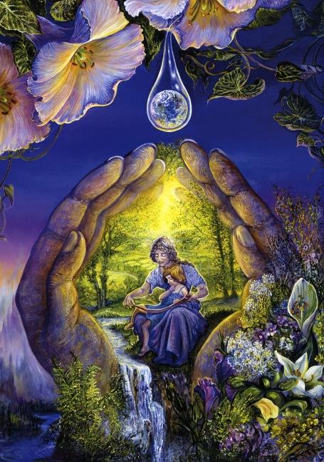 https://maessage.wordpress.com — 2 mains enserrent une femme avec enfant sur les genoux. Ils sont au bord d'une rivière, paysage très ensoleillé de campagne. D'une fleur, perle une goutte contenant la Terre. Fleurs autour des 2 mains sur fond de ciel bleu sombre • peinture de Josephine WALL, peintre et sculptrice anglaise • « Thirst for Knowledge » / « Soif de Connaissance »