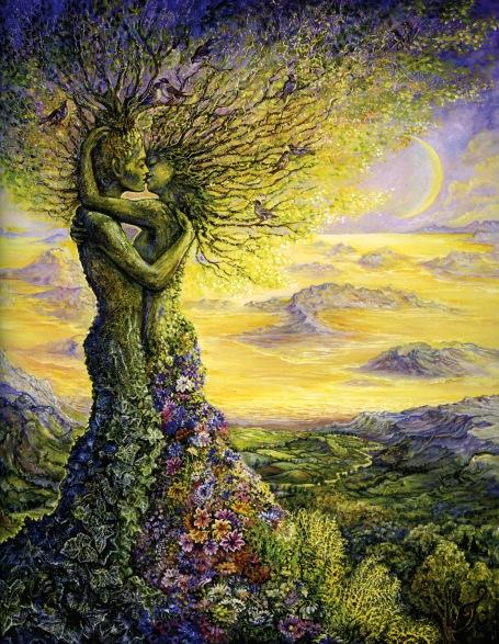 https://maessage.wordpress.com — paysage anthropomorphe. Un homme et une femme en forme d'arbre sont enlacés et s'embrassent sur la bouche. Leurs cheveux dressés forment des branches sur lesquelles viennent se poser des oiseaux. La base du tronc à partir des fesses est tapissée de feuilles chez l'homme, de fleurs chez la femme. En contrebas, un désert jaune parsemé de montagnes ainsi que la lune, jaune également, teintent le couple entrelacé d'une douce lumière dorée • peinture de Josephine WALL, peintre surréaliste et sculptrice anglaise  • «Nature's Embrace» / «Étreinte de la nature»