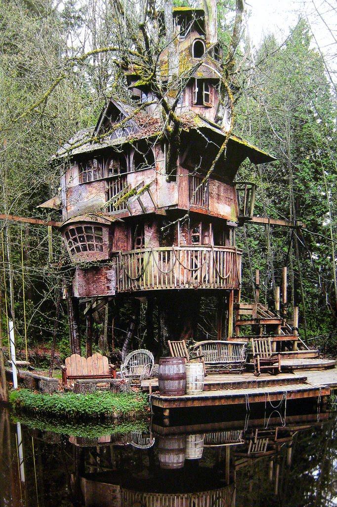 https://maessage.wordpress.com — photo représentant une maison fantasmagorique dans les branches d'un arbre, au bord de l'eau. Elle a été conçue et construite par Steve RONDEL à Redmond », près de Seattle, dans l'état de Washington (États-Unis)