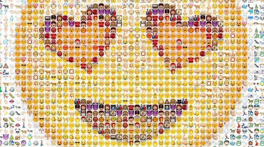 https://maessage.wordpress.com — des dizaines d'émojis forment un smiley souriant dont les yeux sont en forme de cœur. Dominante de couleur : jaune